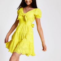 River Island Yellow embroidered bow front dress | sunny summer dresses