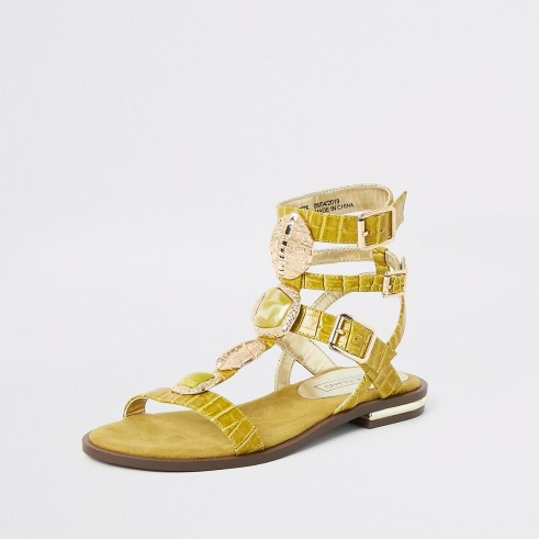 River Island Yellow gem gladiator sandals | flat embellished summer gladiators