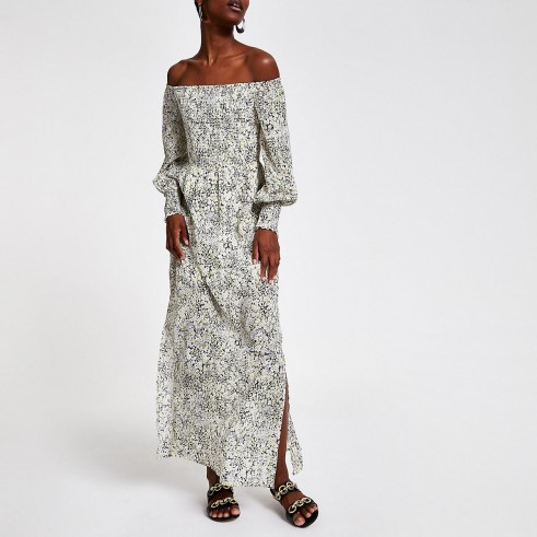 River Island Yellow print bardot maxi dress | floral off the shoulder dresses