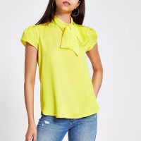 River Island Yellow tie neck short sleeve blouse | vintage style blouses