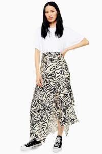 TOPSHOP Boutique Zebra Silk Bias Skirt | asymmetric animal print skirts
