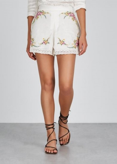 ZIMMERMANN Allia Cross Stitch linen-blend shorts in ivory / floral embroidered