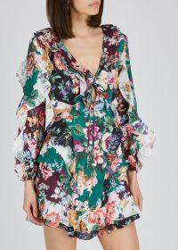ZIMMERMANN Allia floral-print ruffled linen mini dress / side cut-out dresses