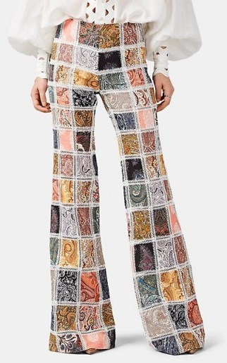 ZIMMERMANN Ninety-Six Paisley Linen Patchwork Flared Trousers ~ boho summer pants - flipped