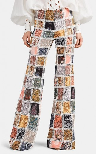 ZIMMERMANN Ninety-Six Paisley Linen Patchwork Flared Trousers ~ boho summer pants