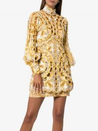 Zimmermann Zippy Balloon Sleeve Cotton Linen Mini Dress | high neck cut-out dresses