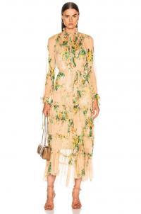 ZIMMERMANN Zippy Necktie Dress in Peach   Garden Floral / romance fashion / romantic / feminine