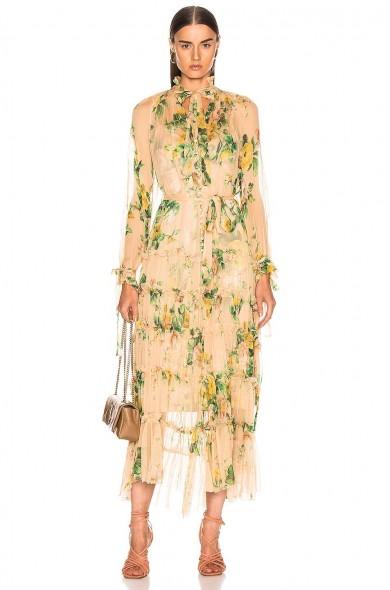 ZIMMERMANN Zippy Necktie Dress in Peach | Garden Floral / romance fashion / romantic / feminine