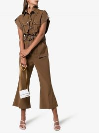 Zimmermann Zippy Virgin Wool Safari Jumpsuit in Brown | cropped kick-flare jumpsuits