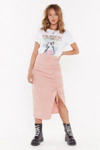 NASTY GAL A Little Slit of Heaven Ruched Midi Skirt Blush – light-pink front gathered skirts