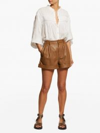 ISABEL MARANT ÉTOILE Abot high-rise washed-leather shorts in camel