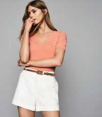 Reiss ADA V-NECK KNITTED TOP CORAL | short sleeve summer knit