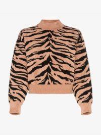 Alaïa Tiger Print Knit Sweater in orange and black