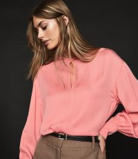 REISS ALANA KEYHOLE DETAIL BLOUSE PINK ~ feminine clothing