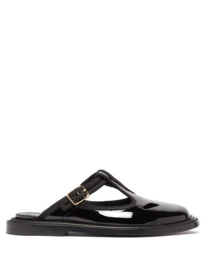 BURBERRY Alannis black patent-leather dolly mules ~ flat T-bar mule
