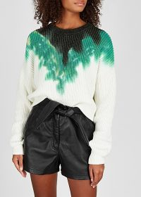 A.L.C. Elinor tie-dye knitted cotton-blend jumper | dropped shoulder crew neck sweater