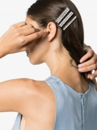 Alessandra Rich Silver Tone Embellished Hair Clips | rhinestone clip set