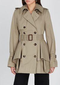ALEXANDER MCQUEEN Sand peplum cotton-twill trench coat ~ chic mac