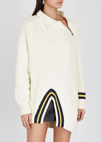ALEXANDER WANG Ivory asymmetric cotton-blend jumper ~ contemporary knitwear