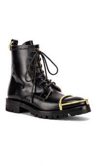 Alexander Wang Lyndon Black Box Calf Bootie in Black | gold toe cap combat boots
