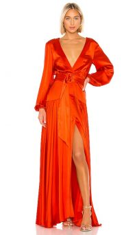 Alexis Modesta Gown in Red ~ striking front split gowns
