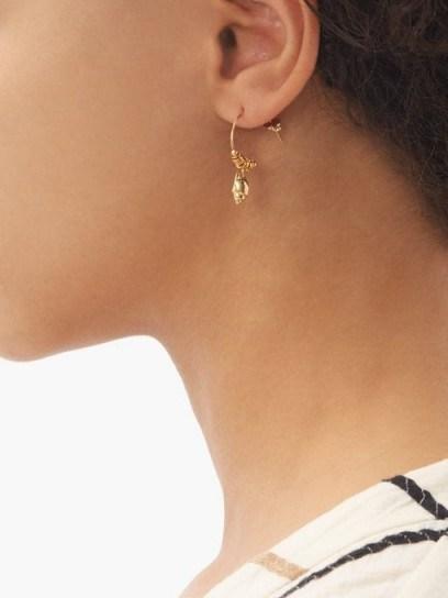ELISE TSIKIS Alimos 18kt gold-plated shell hoop earrings ~ delicate pendant hoops - flipped