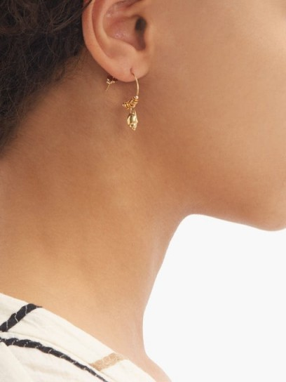 ELISE TSIKIS Alimos 18kt gold-plated shell hoop earrings ~ delicate pendant hoops