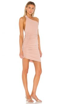 Alix Celeste Mini Dress in Sand | ruched one shoulder party dresses