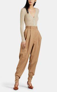 ALTUZARRA Atomica Wool Pleated Pants in Beige