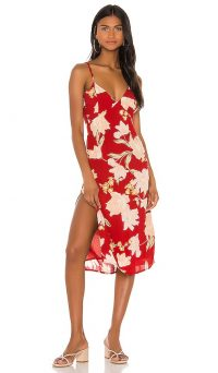 AMUSE SOCIETY Bravado Midi Dress Rouge / red floral thin strap dresses