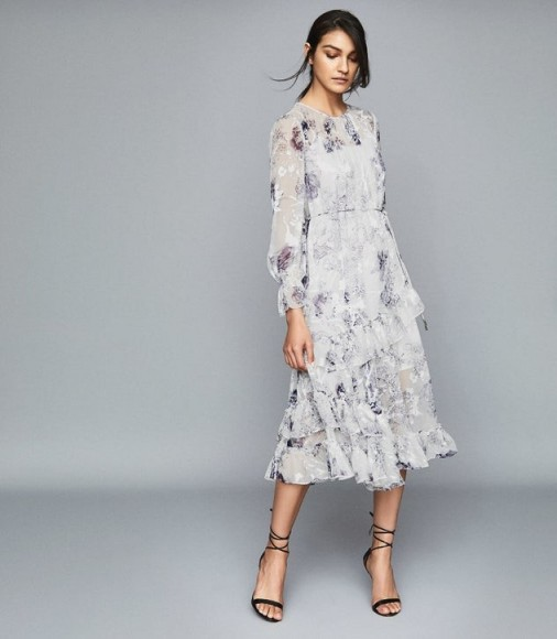 REISS ANNABELLE FLORAL PRINTED MIDI DRESS BLUE/ WHITE ~ tiered ruffles