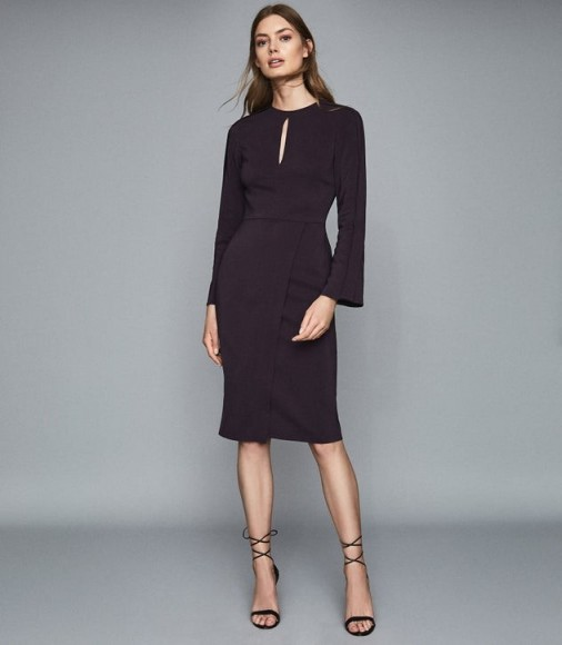 REISS ANOUK WRAP FRONT SLIM FIT DRESS BERRY ~ fitted dresses