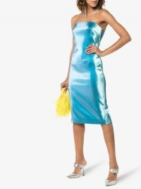 AREA Crystal-Trimmed Blue Lamé Dress ~ party glamour