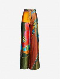 16 ARLINGTON Cher graphic-print silk trousers ~ multicoloured fluid-fabric pants