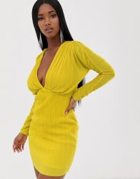 ASOS DESIGN batwing sleeve plisse mini dress in yellow ~ bright plunging party dresses
