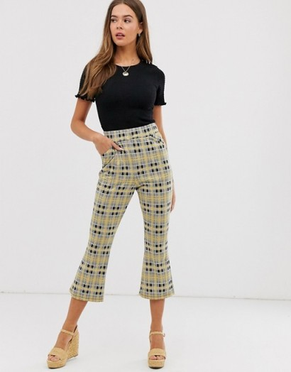 ASOS DESIGN cropped kickflare trouser in check jacquard / checked kick flare pants