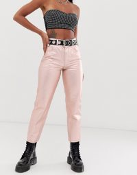 ASOS DESIGN Florence authentic straight leg jeans in rose gold metalic pink ~ shiny denim