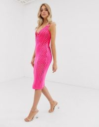 ASOS DESIGN laser cut scuba column midi dress in hot-pink – bright going out fashion