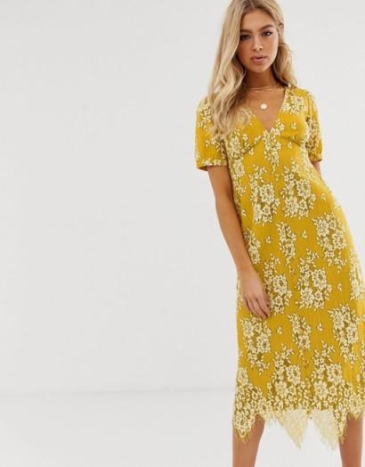 ASOS DESIGN midi button through lace tea dress in Ochre