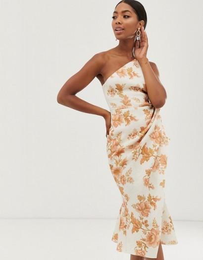 ASOS DESIGN one shoulder tuck detail midi dress in Floral Print / side gathered dresses