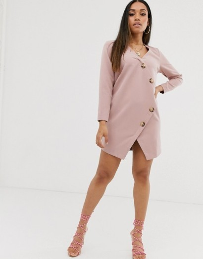 ASOS DESIGN Petite asymmetric shift mini dress with tortoiseshell buttons in rose ~ dusty pink dresses