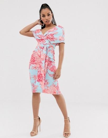 ASOS DESIGN Petite fallen shoulder midi pencil dress with tie detail in floral print