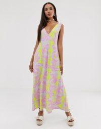 ASOS DESIGN trapeze maxi dress in pink tie dye print