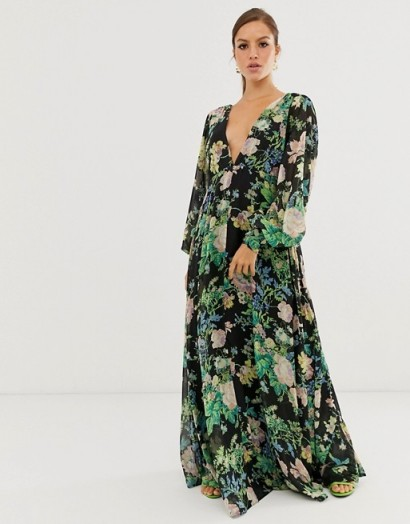 ASOS EDITION blouson sleeve maxi dress in floral print / long flowing plunge front dresses