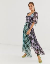 ASOS EDITION off shoulder midi dress in mixed check print / floaty checked dresses