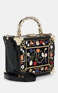 ASPINAL OF LONDON Mini Embroidered Black Velvet Trunk Bag ~ beautiful box bags