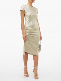 PACO RABANNE Asymmetric ruched metallic-effect midi dress in pale-gold ~ pure glamour