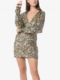 Attico V-Neck Sequin Embellished Mini Dress ~ party glamour