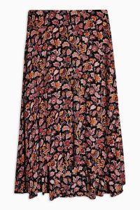 Topshop Autumnal Floral Midi Skirt in Black | high low skirts