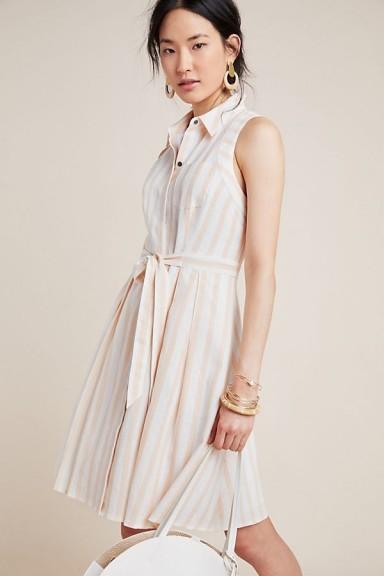 ANTHROPOLOGIE Melena Striped Shirtdress in Neutral Motif ~ tie waist shirt dress